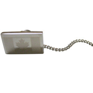 Silver Toned Etched Canada Flag Tie Tack
